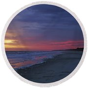 Four Minutes On The Beach Round Beach Towel