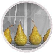 Four Pears On Windowsill Round Beach Towel