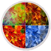 Four Seasons In Abstract Round Beach Towel