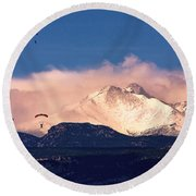 Four Skydivers With Longs Peak And Mount Meeker Rocky Mountain H Round Beach Towel