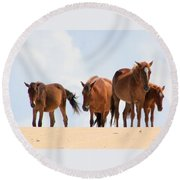 Four Wild Mustangs Round Beach Towel