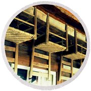 Four Wooden Chairs Round Beach Towel