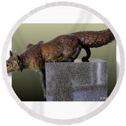 Fox On A Pedestal Round Beach Towel