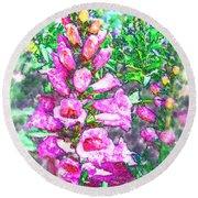 Foxglove Floral Round Beach Towel
