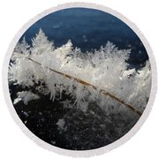 Fractal Frosty Ice Crystals Round Beach Towel