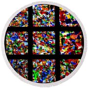 Fractured Squares Round Beach Towel by Meandering Photography