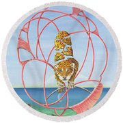 Fragmented Out Comings Round Beach Towel