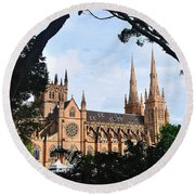 Framed Cathedral Round Beach Towel