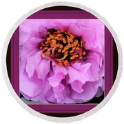 Framed In Purple - Abstract Floral Round Beach Towel