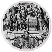 France: Baptism, 1704 Round Beach Towel