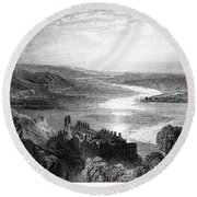 France: Chateau, 1853 Round Beach Towel