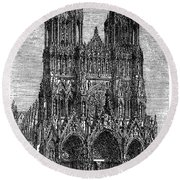 France: Reims Cathedral Round Beach Towel