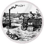 France: Steam Threshing Round Beach Towel