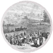 France: Wine Harvest, 1871 Round Beach Towel