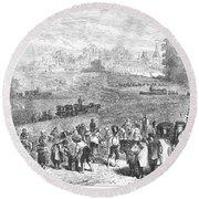 France: Wine Harvest, 1871 Round Beach Towel
