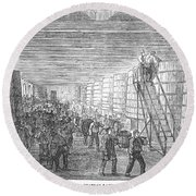 France: Winemaking, 1854 Round Beach Towel