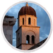 Franciscan Monastery Tower At Sunset Round Beach Towel