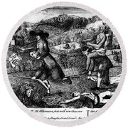 Franklin: Cartoon, 1764 Round Beach Towel