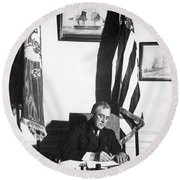 Franklin D. Roosevelt, 32nd American Round Beach Towel