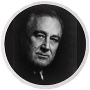 Franklin Delano Roosevelt  - President Of The United States Of America Round Beach Towel