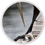 Fred The Great Blue Heron Round Beach Towel