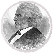 Frederick Douglass (c1817-1895). American Abolitionist. Wood Engraving, American, 1877 Round Beach Towel