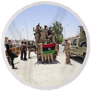 Free Libyan Army Troops Pose Round Beach Towel
