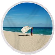 Freedom From Sand Round Beach Towel