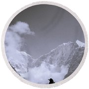 Freedom In The Himalayas In Nepal Round Beach Towel