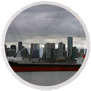 Freighter In Port Round Beach Towel