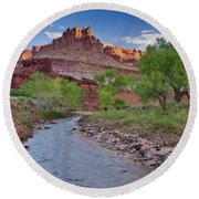 Fremont River And Castle Round Beach Towel