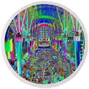 Fremont Street Experience Nevada Round Beach Towel