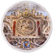 French Church Detail Round Beach Towel