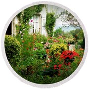 French Cottage Garden Round Beach Towel