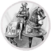 French Knight, 16th Century Round Beach Towel