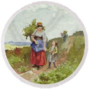 French Peasants On A Path Round Beach Towel by Daniel Ridgway Knight