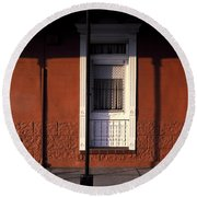 French Quarter Door And Shadows New Orleans Round Beach Towel