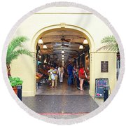 French Quarter French Market Entrance New Orleans Film Grain Digital Art Round Beach Towel