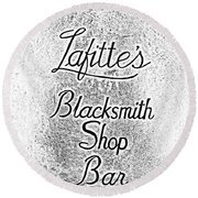 French Quarter Illuminated Lafittes Blacksmith Shop Bar Sign New Orleans Photocopy Digital Art Round Beach Towel