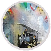 French Quarter In New Orleans Bis Round Beach Towel