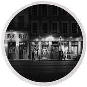 French Quarter Shopping At Night - Black And White Round Beach Towel