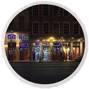 French Quarter Shopping At Night Round Beach Towel