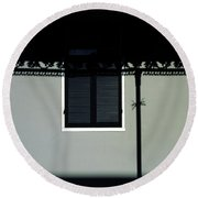 French Quarter Shutter And Shadows Round Beach Towel