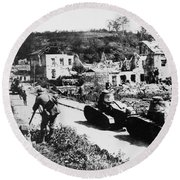 French Renault Wwi Tanks - France  Round Beach Towel