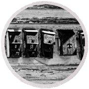 Freret Street Mailboxes - Black And White -nola Round Beach Towel