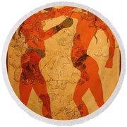 Fresco Of Boxing Children Round Beach Towel