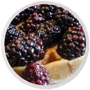 Fresh Blackberry Waffles Round Beach Towel