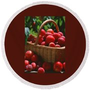 Fresh Red Plums In The Basket Round Beach Towel