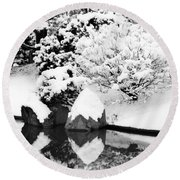 Fresh Snow And Reflections In A Japanese Garden 1 Round Beach Towel