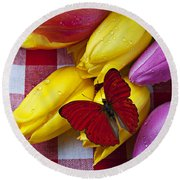 Fresh Tulips And Red Butterfly Round Beach Towel by Garry Gay